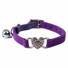 Heart charm and bell cat collar safety elastic adjustable with soft velvet C1B6