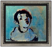 Moshe Mokady Original Oil Painting on Board Signed Portrait Figurative Artwork