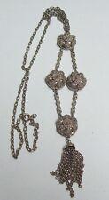 Vintage Textured LISNER Silvertone Dangle Necklace