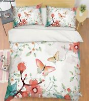 3D Flower Butterfly2 Bed Pillowcases Quilt Duvet Cover Set Single Queen AU Carly