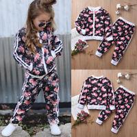 2PCS Kid Girls Tracksuit Sweatshirt Zip Up Tops+Pants Set Sport Clothes Outfits