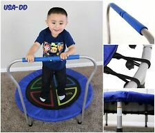 Kids Mini Trampoline Toddler Active Toy 36'' Round My First Bounce W/ Handle Bar