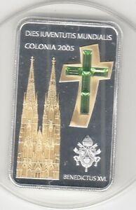 Liberia  10 $  2005  Weltjugendtag Köln  Silber  Goldapplikation  Swarowski