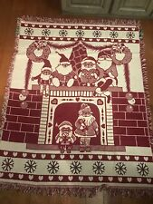 Waiting For Santa Cotton Woven Throw 45� X 65� *New