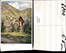239436,Künstler AK Hugo Darnaut Tirolerkreuz Wegkreuz in d. Walster b. Mariazell