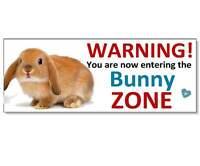 FUNNY WARNING RABBIT BUNNY ZONE Acrylic SIGN Plaque hutch run door garden gift