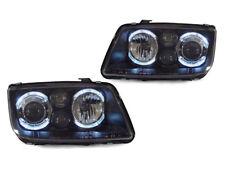 DEPO White LED Angel Eye Black Headlight For 1999-2005 Volkswagen Jetta 4 / Bora