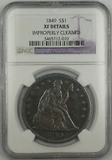 1849 Seated Liberty Silver Dollar $1 Coin NGC XF Details Improperly Cleaned