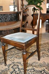 Antique Walnut Upholstered Side or Vanity Desk Chair, National Furniture Co.