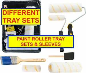 """PAINT ROLLER TRAY SETS 4/7/9""""  ROLLERS TRAYS MINI ROLLER SLEEVES"""