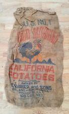 Vintage Good Morning California Potatoes Feed Sack Burlap Bag 100 lb.