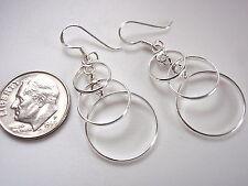 Cascading Circles Dangle Earrings 925 Sterling Silver Corona Sun Jewelry