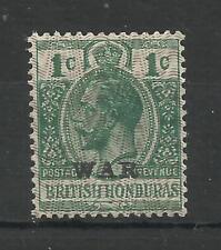 Br Honduras 1915/16 Sg 111, 1c Green, War overprint Type 18, M/Mint [CW 17]