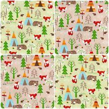 100% Cotton Poplin Rose & Hubble Fabric Woodland Camping Animal Print Material