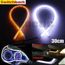 2x 30cm LED Light Strip Tube Switchback White/Amber Turn Signal Daytime Running