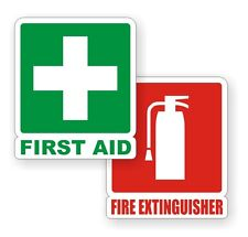 Fire Extinguisher & First Aid Kit Vinyl Decals / Stickers / Labels RV 4x4 (Pair)