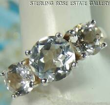 WHITE TOPAZ 8 mm STERLING SILVER .925 ESTATE ENGAGEMENT WEDDING BAND RING size 8