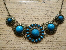 Vintage Bronze Blue Stone Floral Tribal Jewellery Fashion Collar Necklace
