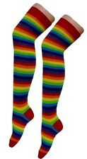 New Ladies Over The Knee Multi-Coloured Rainbow Style Stripy Stripey Socks Pride