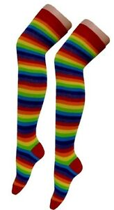 Ladies Over The Knee Multi-Coloured Rainbow Style Stripy Stripey Socks Pride Hen