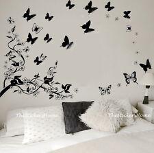 Huge BLACK 3D Butterflies Vine Flower Tree Wall Stickers Art Decal Paper Lounge