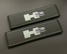 Hummer H2 Black Seat belt covers pads Grey embroidery 2PCS