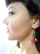 Boucles d'oreilles originales 2 cerises rouges feuilles strass rétro vintage