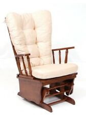 Poltrona sedia a dondolo in legno massello mod.dallas col.beige relax oscillant