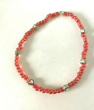 Stretchy Red Heart Anklet Ankle Bracelet Elasticated Seed Beads Beach Summer