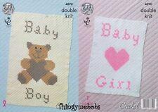 KING COLE 4890 BABY BLANKETS ORIGINAL CROCHET PATTERN - DOUBLE KNIT - BOY/GIRL
