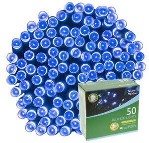 50 String Solar Powered Outdoor LED Garden Fairy Light - Blue