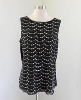 White House Black Market Black Embroidered Sequin Scalloped Tank Top Blouse Sz L
