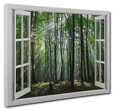 "LARGE LANDSCAPE BOX CANVAS ART MISTY LAKE framed 44x20/"""