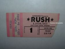 RUSH / U.F.O. 1978 Concert Ticket Stub DAYTON OHIO HARA ARENA Mega Rare