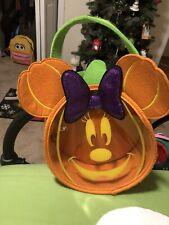 Disney Parks Minnie Mouse Orange Felt Trick Or Treat Bag