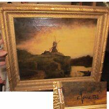 Authentic Carl Henrik Jonnevold 1856-1955 Oil Painting Windmill On Hill Scene