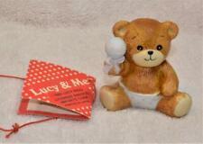 "Vintage 1982 Enesco Porcelain Lucy & Me Baby Bear w Rattle 2 3/4""h Figurine"