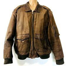 Vintage Marco Serafino Leather Bomber Jacket Mens 2X XXL Brown Distressed Flight
