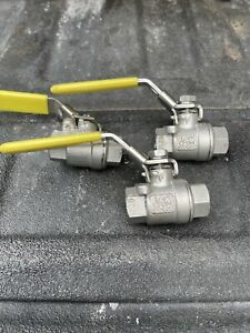 "qty 3 Watts stainless 1/4"" ball valves w/locking handles NPT"
