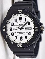 Casio MRW200H-7B 100M Black Diver Classic Sports Watch New Day/Date White Dial