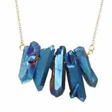Raw Crystal Rough Peacock Ore Necklace Chakra Bronze Drop Dangle Purple Blue