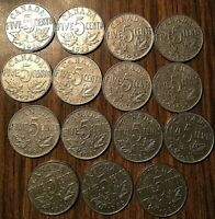 1922 TO 1936 COMPLETE COLLECTION SET OF GEORGE V CANADA 5 CENTS ALL DATES