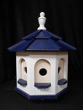 Medium Poly Amish Gazebo Birdhouse Post Mount Handcrafted White & Blue Roof