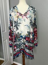 NWT Johnny Was Vacation Silk Printed Tunic Top Blouse L