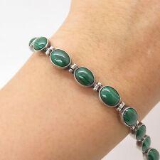 "925 Sterling Silver Real Malachite Gemstone Link Bracelet 7"""