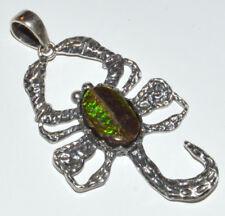 Genuine Canadian Ammolite 925 Sterling Silver Pendant Jewelry JJ11487