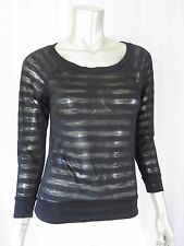 NO BOUNDARIES Junior's M Black Soot Sheer Stripes Boat Neck Top Blouse Shirt