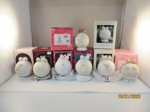 Precious Moments Porcelain Ball & Stand Ornaments - 89,90,91,92,93,93, 2002,2004