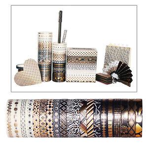20 Rolls Washi Tape Set 15MM Black Gold Foil Print Decorative Tapes DIY Crafts