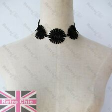 GOTHIC black WIDE LACE DISC CHOKER gold chain SHORT NECKLACE vintage victorian